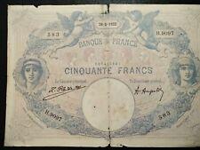 """RARE Série:H.9097"""".50frs BLEU ET ROSE 29.5.1922 rare série:1922"""