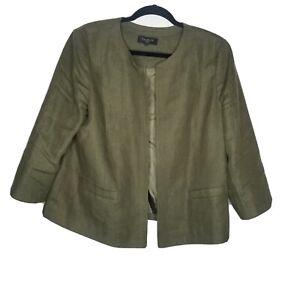 Talbots Women's Size 16P Green 100% Linen Collarless Open Front Blazer