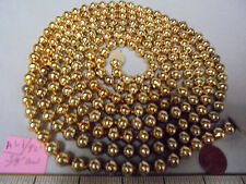 "Christmas Garland Mercury Glass Antique Gold 92"" Long 3/8"" Beads #Al1 Vintage"