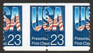 2607 23c USA flag coil misperf pair MNH