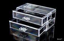 Clear Acrylic Jewelry Makeup Cosmetic Organizer Storage  - 2 Drawer 7x6x4 inches