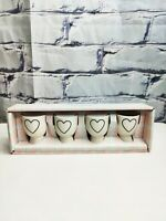 Set of 4 Rae Dunn HEART Theme Black and White Ceramic Egg Cup Holders Brand New
