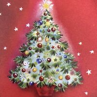 Vintage Mid Century Christmas Greeting Card Tree In Basket Stars Red Background