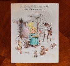 1947 VTG Christmas Card ANGEL PINK FEATHER WINGS FEEDING BIRD DEER BUNNY ANIMALS