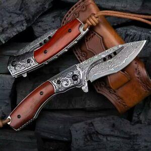 NEWOOTZ Exotic Handmade VG 10 Core Damascus Steel Rosewood Handle Folding Knife