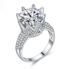 8 Carat Simulated Lab Made Diamond Ring Silver 925 Over 14K White Gold Plated