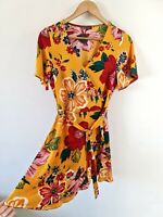 PAPAYA BOLD RETRO FLORAL PRINT RUFFLE WRAP TEA DRESS SIZE 10