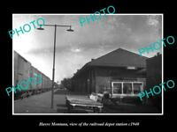 OLD LARGE HISTORIC PHOTO OF HAVRE MONTANA, THE RAILROAD DEPOT STATION c1940