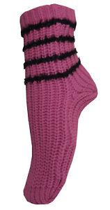 Ladies Warm Chunky Pink Black Stripe Christmas Sock Bargain Deal Stocking Filler