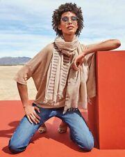 NWT $118 Eileen Fisher Organic Cotton Jamdani Bars Wrap Scarf in Dune ~ GIFT!!
