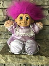 "Russ Troll Doll! 11"" Magenta Hair Blue Eyes Soft Body! Dressed In Satin And Lace"
