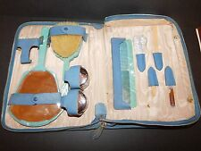 TEAL GREEN ART DECO HALEX XYLONITE TRAVEL VANITY SET IN BLUE CASE c1930's