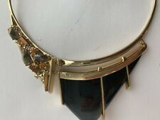 RARE Authentic Alexis Bittar Necklace Black Lucite, Natural Stones, Crystals