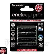 4 x Panasonic Eneloop PRO AAA batteries 930mAh Rechargeable Ni-MH HR03 BK-4HCDE