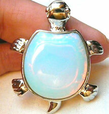 New Natural White Opal Garden Turtle Gemstone Pendant 17''