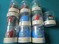 CHRISTMAS ORNAMENTS LOTS ROCKWELL, CHRISTMAS HOUSE, GLASS - NEW - PICK ONE SET