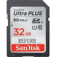 32GB SanDisk Ultra Plus 80MB/S V10 SD Camera Memory Cards USH SDSDUNC-032G VIDEO