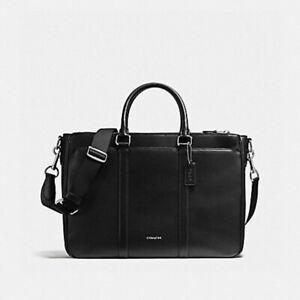 NEW Coach $695 Perry Metropolitan Black Grain Leather Crossbody Briefcase F59141