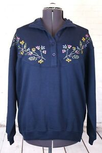 New Chinawear Women's L Blue Button Mock Neck Fleece Top, Embroidered Flowers