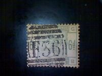 Stamps, Great Britain, Scott #105, used(o), 1884, Queen Victoria, 6d, dull green