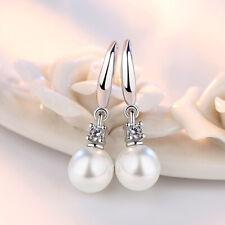 Sterling Silver White Pearl Fashion Earring Stud Women Ladies Jewelry Gift UK