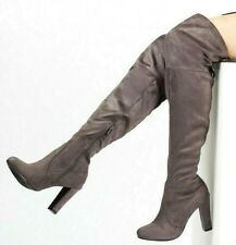 WOMENS GREY THIGH HIGH HEEL OVER THE KNEE STRETCH MID HEEL BOOTS SIZES