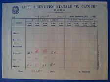 Roma Liceo Scientifico C. Cavour 1954-55 - Tabella orario settimanale scolastico