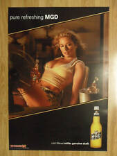 Sexy Girl Beer Poster Miller MGD ~ Sultry Summer Sweat Camo Shorts Electric Fan