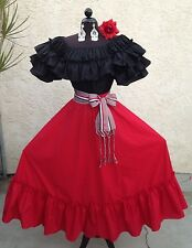 MEXICAN DRESS FIESTA,5 DE MAYO,WEDDING RED/BLACK OFF SHOULDER 2PC W/MEDIUM SASH