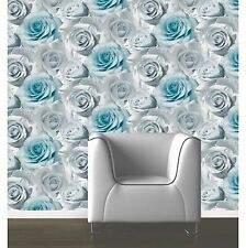 Luxary Designer Muriva  Madison 119503  Blue  Rose Floral Bloom  Wallpaper New!!