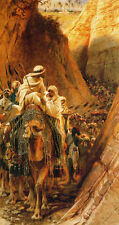 Oil painting Carl Haag - Beyond Jordan Arab armies in the canyon with Camels