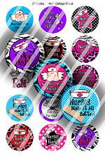 Pre-Cut Bottle Cap Images Nursing 101 Collage Sheet R327 - 1 Inch Circles