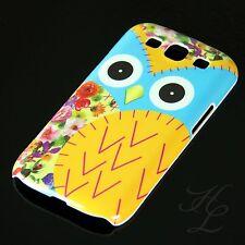 Samsung Galaxy S3 NEO i9300 Hard Schale Case Schutz Hülle große Eule Gelb Owl