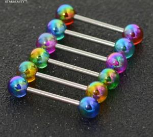 1 PCS Colorful Acrylic Bar Tongue Rings Body Piercing Jewelry Tounge Bar