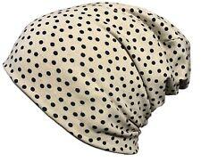 Long Slouch Beanie Mütze, Unisex, leicht und dünn in beige mit schwarzen Punkten