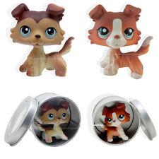 2pcs #1542 #58 Rare Littlest Pet Shop Brown Collie Dog Puppy Blue Eyes LPS