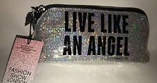 "Victoria's Secret Black Silver ""Live Like An Angel"" Makeup Bag Cosmetics Pouch S"