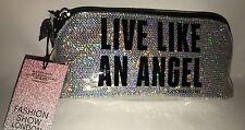 "Victoria's Secret Black Silver ""Live Like An Angel"" Makeup Bag Cosmetics Pouch S"