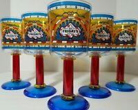 5 Vintage 90's TGIF FRIDAYS Drink Stained Glasses Goblet Restaurant Plastic Cups