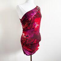 Cache Women's Medium M One Shoulder Jeweled Micro Mini Dress Stretch Jersey Red