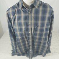Columbia Mens Button Down Shirt Size XXL Plaid Blue Black Tan
