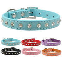 Clear Rhinestone Suede Leather Puppy  Dog Cat Collar for Small Breeds XXS/XS/S