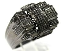 Mens Solid 10K Black Gold Finish Pinky Ring Iced Out 2 Carat AAA Diamonds Band
