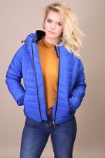 Womens Ladies Ma1 Quilted Hidden Hood Padded Jacket Bubble Puffer Coat Collar UK (10) Medium Royal Blue