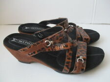 Mephisto Leopard Leather /Suede Wedge Slides Eu 38 made in France