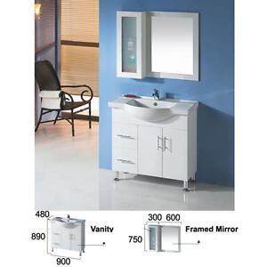 900mm semi recess vanity on kickboard or  legs