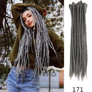 "20pcs 20"" Synthetic Dreadlocks Hair Extensions Crochet Braid Dreads Dark Gray"