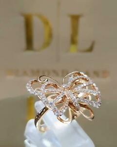 Fashion Butterfly 18k Gold White Sapphire Rings for Women Party Ring Gift Size 8