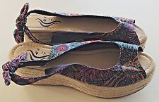 Funky floral multi coloured rope wedge sandals, brand new. Size 6 UK, 39 EU.