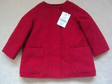 Brand New Baby Girl Red Collarless Coat Size 9-12 months from Next